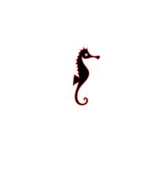graphics silhouette icon sea horse vector image