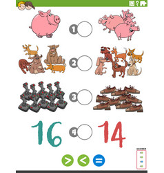 Greater less or equal cartoon game for children vector