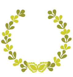 Green laurel wreath frame isolated on white vector