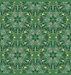 Green mandala seamless pattern vector