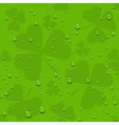 Green seamless clover leaves with transparent vector image