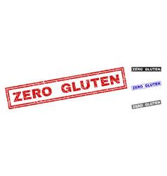 Grunge zero gluten textured rectangle watermarks vector