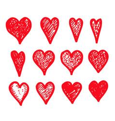 hand draw hearts icon design vector image