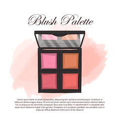 hand drawn color sketch of an eyeshadow palette vector image