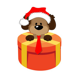 happy christmas symbol dog gift 2018 vector image