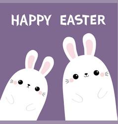 happy easter two rabbit bunny in the corner vector image