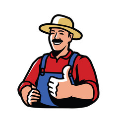 happy farmer agriculture farming symbol vector image