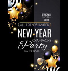 Happy new year party poster template realistic vector