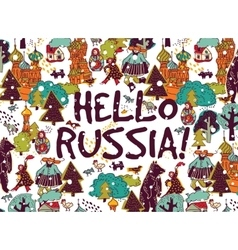 Hello Russia placard or color card snow and winter vector