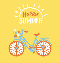 hello summer bicycle with flowers in basket on vector image
