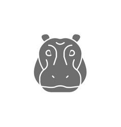 Hippo glyph river-horse hippopotamus grey vector