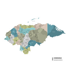 honduras higt detailed map with subdivisions vector image