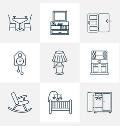 interior icons line style set with tv stand vector image
