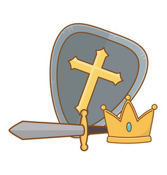 isolated shield crown and sword design vector image