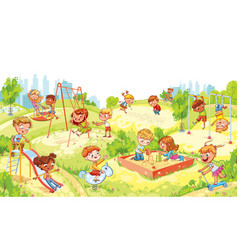 kids with swing sandbox carousel and slides vector image