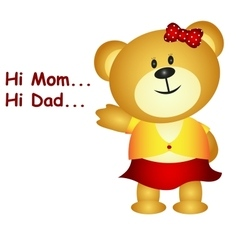 Little bear say hi mom and dad vector image