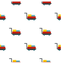 Luggage trolley with suitcases pattern flat vector