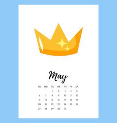 May 2018 year calendar page vector