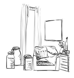 Modern interior room sketch hand drawn chair and vector