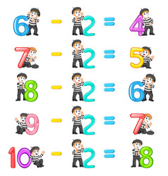 Number decrease from 4 until 8 vector