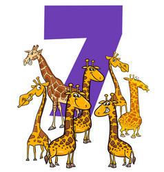 Number seven and cartoon giraffe animals group vector