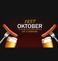 October fest poster with beer glasses and sausage vector