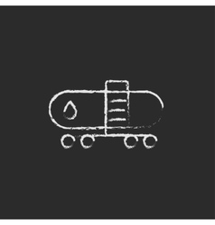 Oil tank icon drawn in chalk vector image