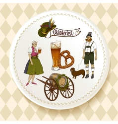 Oktoberfest Beer Set on a white plate vector image