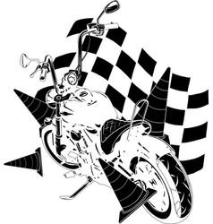 Old vintage black bobber bike with race flag vector
