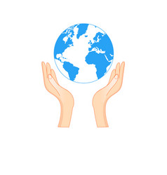 outline symbol a hand holding earth vector image