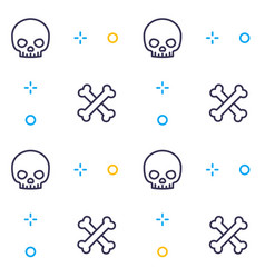 pattern with skull and bones linear design vector image