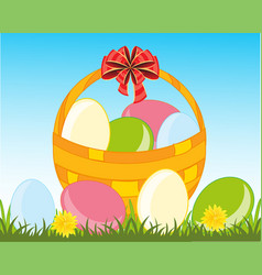 Peaster egg in basket vector