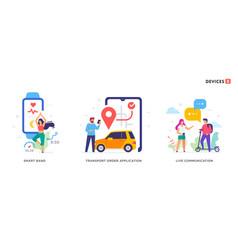 people use smartphones leisure tourism sport vector image