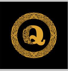 Premium elegant capital letter q in a round frame vector