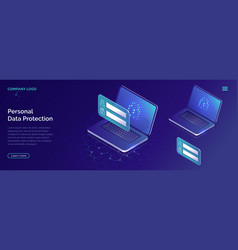 Protecting personal data concept account security vector