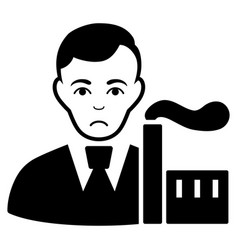 Sad capitalist oligarch black icon vector