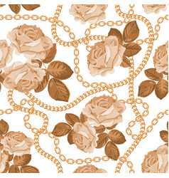 seamless pattern background with golden chains vector image