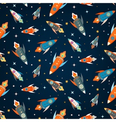 seamless pattern colorful spaceships vector image