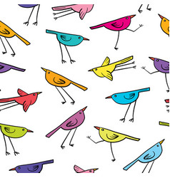 seamless pattern with cute birds on white vector image