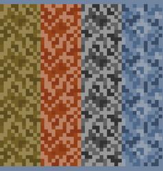 Set 4 seamless digital camouflage patterns vector
