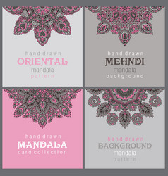 Set four cards or flyers with abstract henna vector