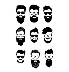 Set of bearded men vector