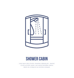 Shower cabin flat logo line icon hygiene vector