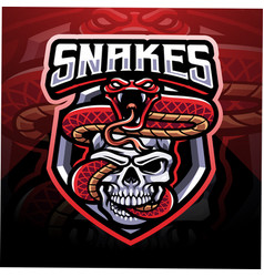 snake with skull esport mascot logo vector image