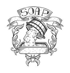 Soap maker vintage emblem engraving vector