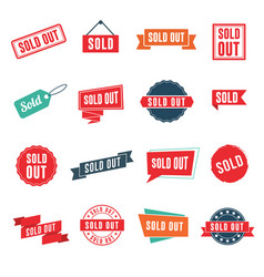 Sold out banners labels stamps and signs vector