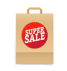 Super sale concept craft paper shopping bag vector