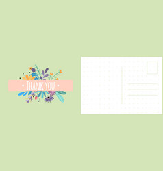 thank you postcard grateful card with bright vector image