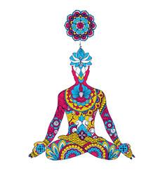 The lotus position chakra sahasrara vector