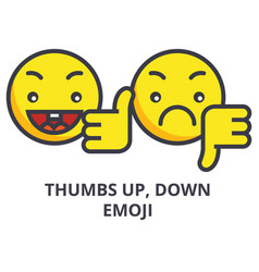 thumbs up down emoji line icon sign vector image